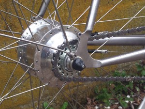 Silver Rohloff Speedhub on a Stainless Steel Rodriguez