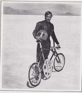 Al Abbott sets the bicycle land speed record