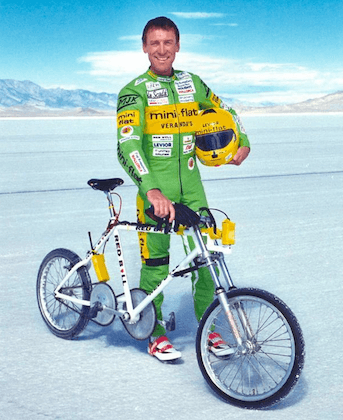 Fred Rompelberg holds sets the Bicycle land speed record