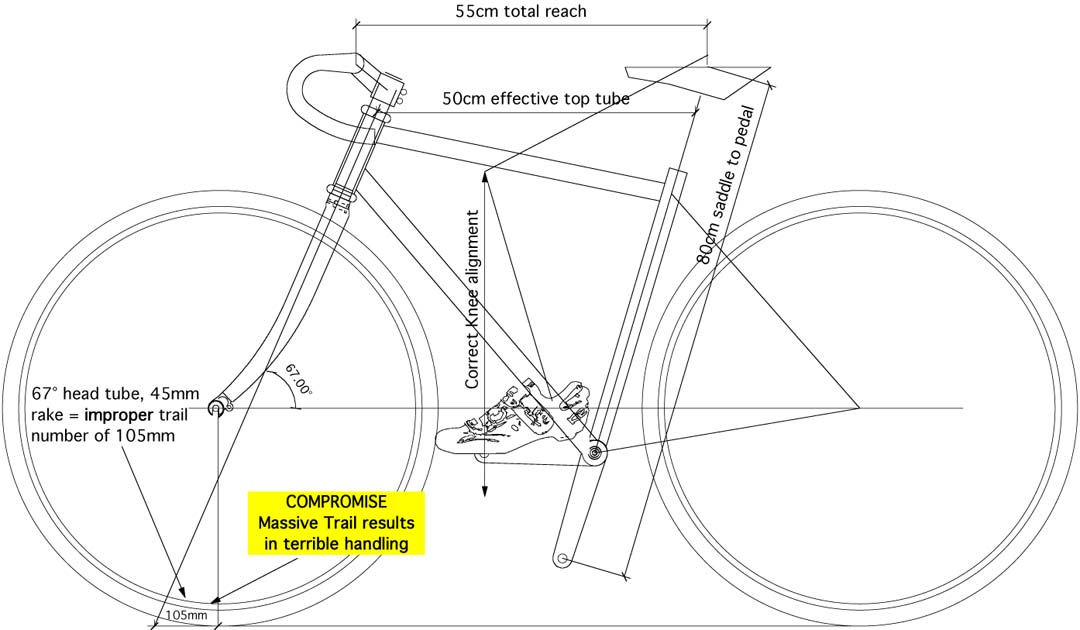 chopper frame drawing with huge trail number pointed out