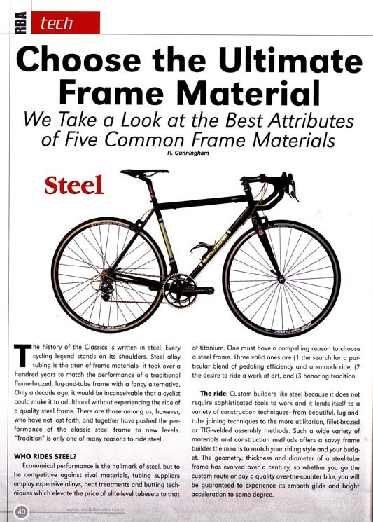 Custom Bicycles and frame materials