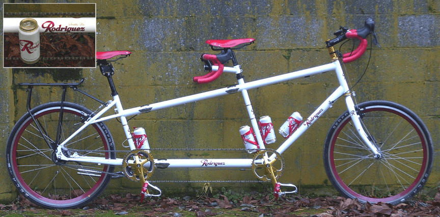 Rodriguez Custom tandem in Rainier Beer theme